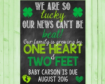 St Patrick's Day Announcement Lucky Pregnancy Announcement Shamrock Irish Green Pregnancy