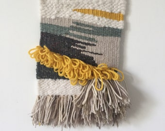 Handmade Wall Tapestry // Abstract-Yellow-Grey-White-Green-Fawn // Woven Wall Hanging Fiber Art Textile theabstractdaily