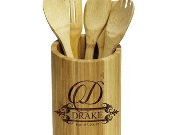 Kitchen Tool Holder, Utensil Holder, Silverware Holder, Utensil Caddy, Kitchen Gift Set, Personalized Utensil Holder Engraved Utensil Holder