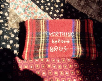 Everything before bros, embroidered pouch