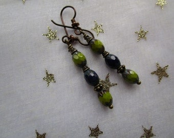 Unique Green and Blue Hypoallergenic Czech Glass Earrings *on SALE* Multicolored One of a Kind Handmade Earrings with Niobium Ear Wires