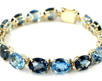 London & Swiss Blue Topaz, 10x8mm, 10KY Gold Bracelet, B003