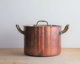 Copper Pot - Lidded - Soup - Small - Vintage - Brass Handles 6 1/4 inches