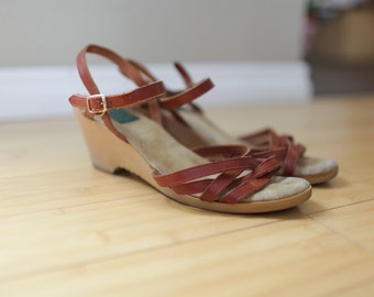 vintage burnt red brown leather wedge sandals womens 9 1/2 *