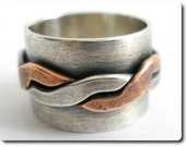 Wide Sterling Silver Band with Copper and Sterling Twist