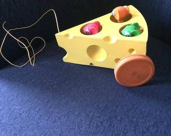 Vintage Hong Kong Made Vanda Cragstan Toys Wacky Mice and Cheese Wacky Pull Toy