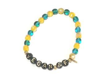 Teal & Yellow stretch beaded VEGAN AF bracelet