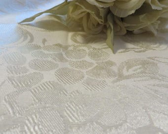 "Tablecloth Off White Ecru Color  //  Large 98"" by 60""  //  Rolled Hem  //  Poly Blend  //  Tone on Tone Fruit & Vine Motifs - GREAT QUALITY"