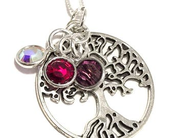 Mothers Birthstone Necklace, Mothers Day Jewelry, Personalized Birthstone Necklace for Mom, Tree of Life Mothers Necklace, Swarovski Crystal