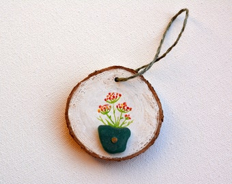 Rustic wood sea glass ornament. Sea glass. Flowers painting. Rustic gift. Eco friendly