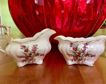 Hammersley Creamer and Sugar Bowl/ 40's Bone China/ Made in England/floral design trimmed in gold/Estate find/onlyformejewelry/ Hostess gift