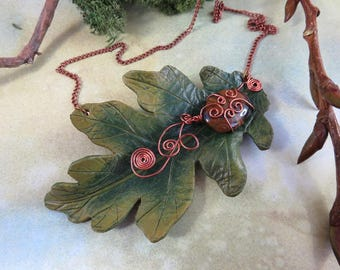 Large Green Oak Leaf Leather Necklace with Tigers Eye Cabochon and copper wire details OOAK