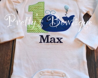 Boys Whale 1st Birthday Shirt or Bodysuit  - Custom Birthday outfit Whale -- Matches Party City Ocean Preppy