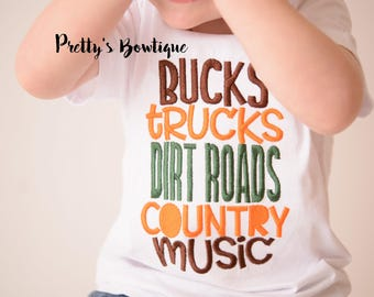 Boys shirt -- Bucks Trucks dirt roads country music -- Boys Hunting T shirt -- Boys Trucks Shirt