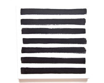 black stripes painting - brush strokes art - black and white stripes painting - minimal abstract art - wall hanging - monochrome art