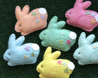 Felt bunny brooch - Easter - Hand embroidered - lapel pin - Your choice of Pastel colours - Spring gift - Mothers' Day