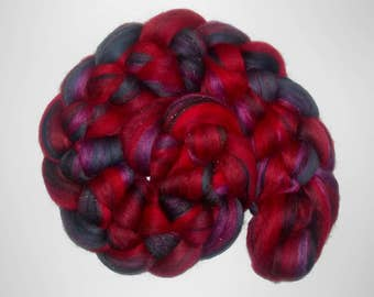 100g Braid - Molten Ruby - Combed Top Merino Silk Stellina - red purple black charcoal damsen sparkle bronze - Roving Spinning Felting