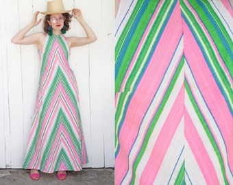 Vintage 70s Dress | 70s Mitered Candy Stripe Cotton Blend Maxi Tank Dress A-Line | Small S