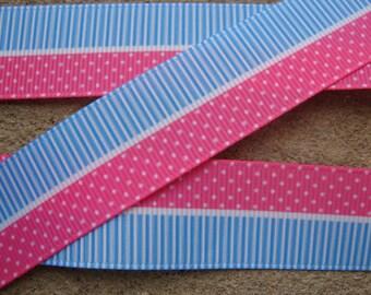 """3 yards Pink ribbon with Blue stripe ribbon Polka Dots Printed Ribbon  7/8"""" grosgrain hair bow printed ribbon"""