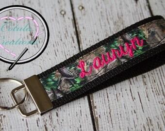 Personalized Camo Key Fob with cursive font - Camo Keychain - Camo Wristlet - Monogrammed Keychain - Personalized keychain