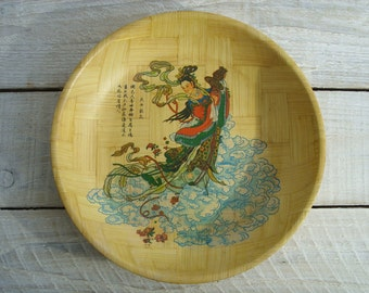 Vintage Bamboo Bowl ~ Asian Print Oriental Serving Dish ~ Fruit Catchall Coffe Table Decor (B15)