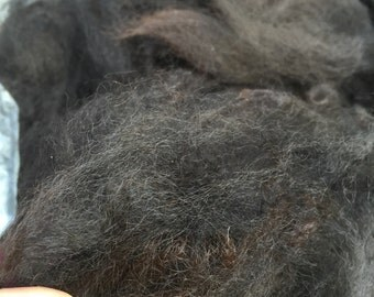 Raw Alpaca Blanket Fleece- Black