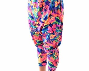 Unisex Drop Crotch Harem Pants with Pockets in Tahitian Floral Print Festival Rave UV Glow Lounge Pants 153990