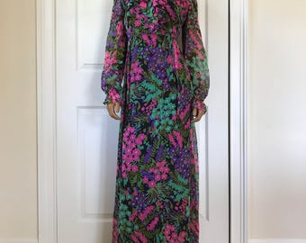 1970s Hippie Dress Floral Watercolor Garden Chiffon Overlay