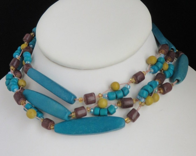 Boho Wood Necklace, Green Beaded Necklace, Vintage Hippie Necklace, Long Necklace, FREE SHIPPING