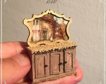 1/48 siderboard with picture dollshouse miniatures hand made by Bea victorian style