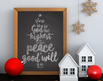 Chalkboard Christmas Verse Glory to God in the Highest Luke 2:14, 11x14 Digital File Instant Download by LostBumblebee