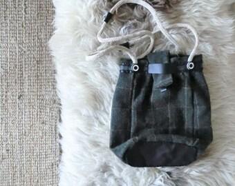 Wool leather bag tote Italian handmade 100% recycled, eco woman tote,Italian recycled leather, Italian wool,gift for her. From JJePa