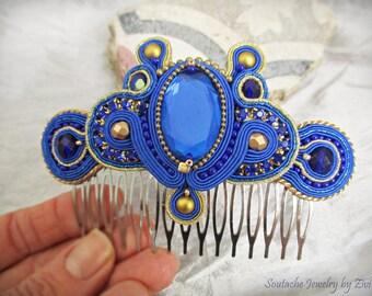 Cobalt Blue Gold Soutache Hair Comb, Blue Hair Comb Fascinator, Rhinestone Bridal Fascinator, Blue Gold Headpiece, Crystal Hairpiece
