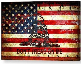 Patriotic Wall Art   Patriotic Home Decor   Gadsden Flag   American Flag  And Viper On