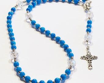 AQUA Handcrafted Catholic Saints Rosary Necklace Beaded Chain