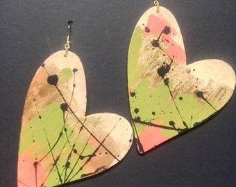 Camouflage Comic Heart Earrings