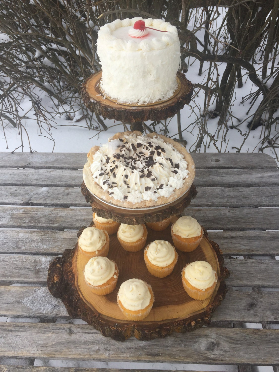 Rustic Cake Stand Cupcake Stand Wedding Large Log Elm Wood