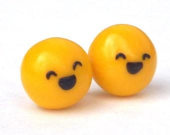 Smile Face Earrings - Happy Face Studs - Emoji Earrings - Nickel Free Posts - Plastic Post Earrings - Kawaii Earrings - Laughing Face Studs