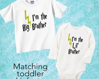 I'm the Big Brother I'm the Little Brother/ Sibling Shirt / Big Brother/ Little Brother/ Lightening Bolt / Harry Potter / Harry Potter Shirt