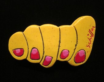 Vintage Bill Schiffer Toes Yellow Foot Red Pink Toe Nails Resin Hand Painted Wearable Art Brooch Pin - Signed Dated NY Jewelry Designer