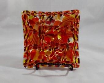 Seven Inch Square Fused Glass Dish