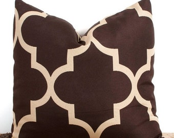SALE ENDS SOON Brown Pillow Cover. 16x16 inch. Brown Lattice Cover. Pillows. Home Decor Accents. Accessories. Tan. Chocolate.  Stripes. Quat