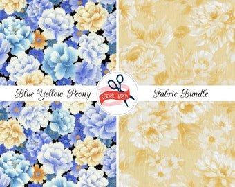 BLUE & YELLOW PEONY Fabric Bundle Fabric by the Yard Fat Quarter Peony Floral Fabric Quilting Fabric 100% Cotton Fabric Apparel Fabric Kit