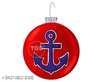 Preppy Anchor Christmas Ornament Clip Art - Christmas clip art, watercolor christmas clip art, beach christmas, anchor clipart