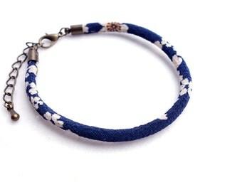 Navy Kimono Bracelet/Anklet / Single Japanese chirimen cord, Japanese traditional Kimono - white flower cherry blossom on navy - HITOE -