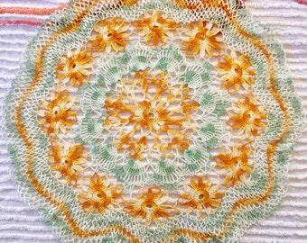 "Hand crocheted 22"" doily"
