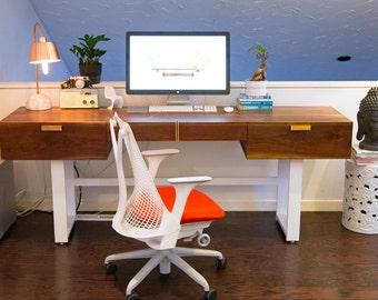 desk office desk mid century desk danish modern desk walnut desk