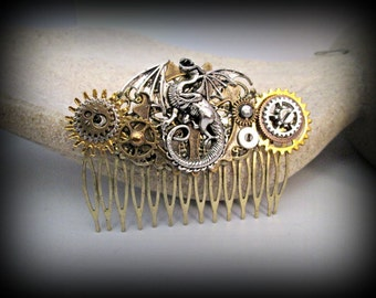Dragon hair accessories-Steampunk hair comb-hair fork-watch parts steampunk hair comb-gothic hair clip