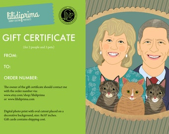 Gift certificate. Custom portrait for couples with pets. Last minute Anniversary, Engagement or Wedding gift.