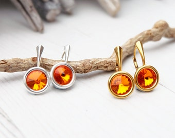 Small Swarovski Earrings-Round Crystal-Orange Amber Crystal Earring-Swarovski Jewellery-Silver Gold Plated Earring- Everyday Earrings